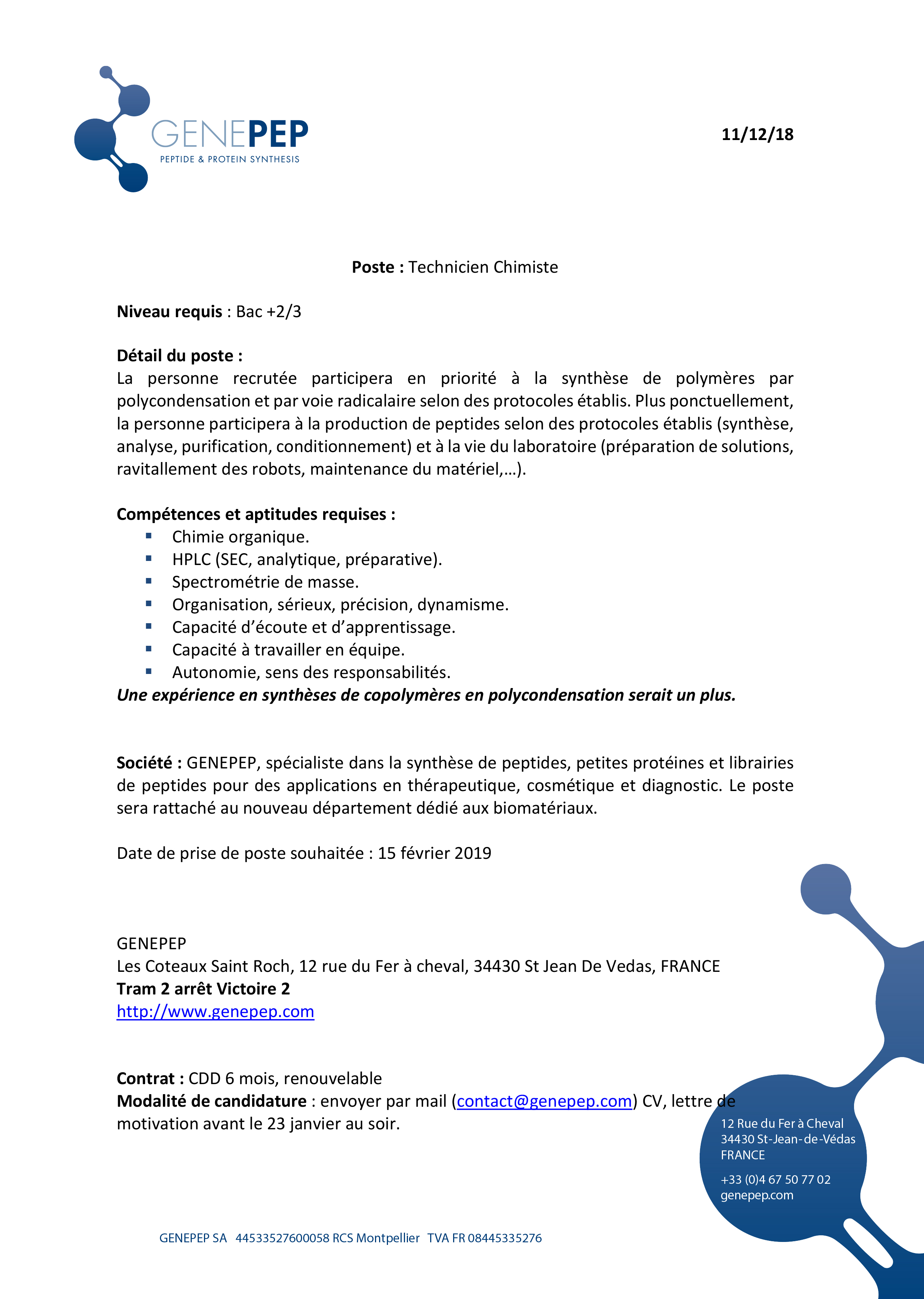 Genepep Job offer